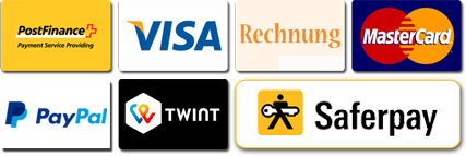 Postfinance, Visa, Facture, Mastercard, Paypal, Twint and Saferpay